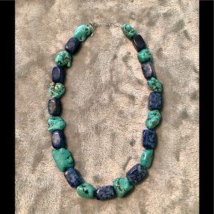 Aqua blue dyed howlite necklace